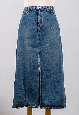 "Gap Jeans Blue Stonewashed Denim 90s Long Maxi Skirt 15"" Front Slit Plus Sz 16"