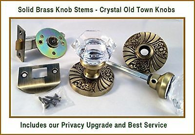 24% Lead Crystal OLD TOWN & ANTIQUE BRASS PRIVACY Door Knob Set with handcraf...