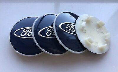 4x Blue 68MM ALLOY WHEEL CENTRE CAPS.WILL FIT WITH FORD MOST NEW MODELS.
