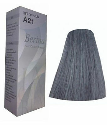 Berina Permanent Hair dye color cream # A21 Light Grey