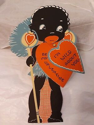 Vtg Black Sambo Americana Valentine Greeting Card Moveable  Eyed Grass Skirt