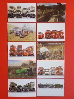 Superb Collection of 10 Miniature Art Postcards of Trains and Buses NEW