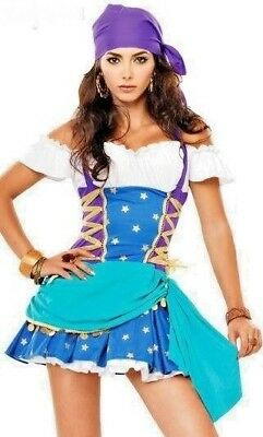 Womens Gypsy Fortune Teller Medieval Ladies Fancy Dress Costume All Sizes