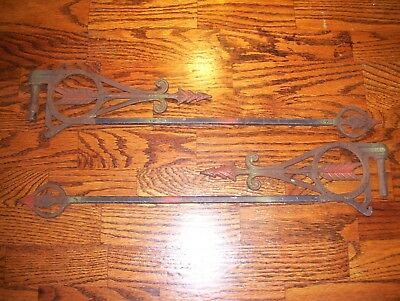 Pair of Vintage Victorian Era Cast Iron Swing Out Curtain Rods.. Look!