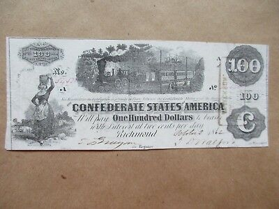 Confederate Currency T-40 $100 Very Fine Issued Montgomery, AL 1862