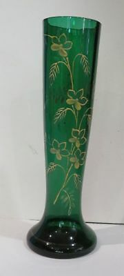 Victorian Blown Bohemian Art Glass Green Vase w Enamel Flowers Gold Gilt Floral