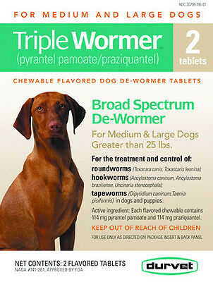 Durvet Triple Wormer Med & Large Dogs 25+ lbs tape round & hookworm 2 Tablets