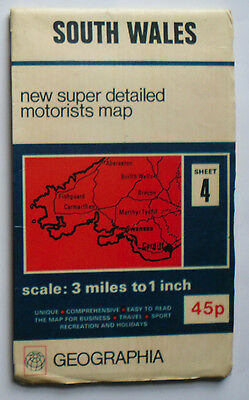 1974 Geographia super detailed motorists map 3 miles 1 in South Wales 4