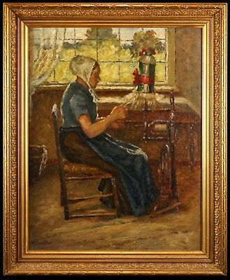 Fine c.1900 Impressionist Oil Painting | M. Sembtner - Lady at a Spinning Wheel