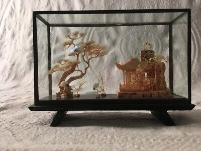 Asian Japanese Chinese Glass Shadow Box Pagodas Trees Cranes