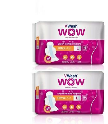 Ultra Thin Sanitary Napkin/Pads By VWash WOW 16 Count (Large) Pack Of 2 KG