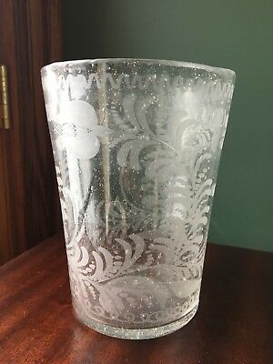 "Antique Flip Glass Etched & Engraved Pontil Mark 19th Century 7"" Tall"