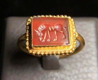 Ancient Carnelian Intaglio Horse Eating Grass Solid 22K Gold Medieval Bead Ring