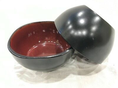 Set 2 Gibson Designs SOHO LOUNGE RED  BLACK Soup Cereal Bowl