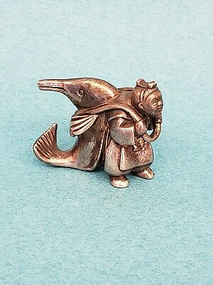 Antique Sterling Silver Miniature Figurine Asian Man With Dolphin