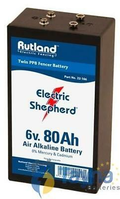 Rutland 6V 80Ah Air Alkaline Twin PP8 Electric Fence Batterij