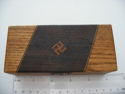 Small Rare Antique Cufflink, Jewelry  Box With  Inlaid Reverse Swastika