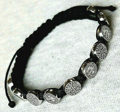 Saint Benedict Black Corded Rosary Bracelet with Silver Tone Medallions
