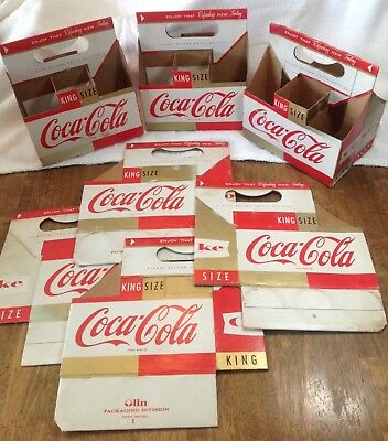 Six Vintage COCA COLA Cardboard Six Pack Carriers!GOLD and RED! 1960's era!