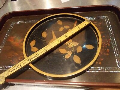 2 ANTIQUE japanese laquered wood wooden antique gilded hand painted tray s FINE