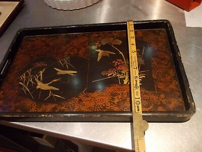 ANTIQUE japanese laquered wood wooden antique gilded hand painted tray FINE