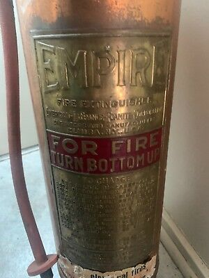 Antique Copper and Brass Riveted Vintage Retro Empire Fire Extinguisher