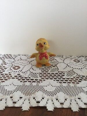 Vintage Frankel Yellow Easter Duck Duckling Figurine Red Scarf Taiwan Label Nice