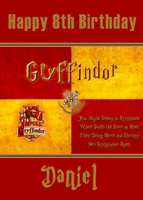 GRYFFINDOR HOGWARTS Harry Potter Personalised Birthday Card -Add your name & age