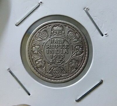 1913 British India 1/2 Half Rupee King George V Silver Coin Bombay mint