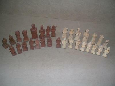Rare German POW WW2 chess set. Including  Churchill. Folk art.