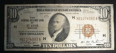 1929 Ten Dollar $10 National Currency Brown Seal- H St Louis- Fine