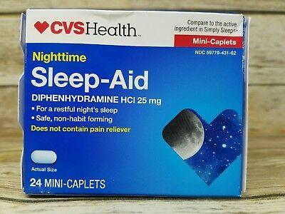 CVS Health Nighttime Sleep-Aid Diphenhydramine HCI 25mg 24 mini caps EXP 2020