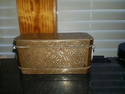 "Antique 1890's Philippines ""Betel Nut"" Bronze Box w/ Silver Inlay RARE!! 3 SECTI"