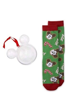 Disney Store 2018 Mickey Mouse Holiday Joy Socks In Ornament Adult Size S