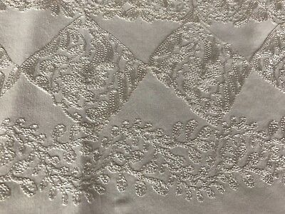 Antique Vintage Tablecloth White on White Embroidered Square 37 x 35