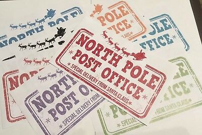 8 x Large North Pole Post Office Stickers - Special Delivery from Santa Claus!