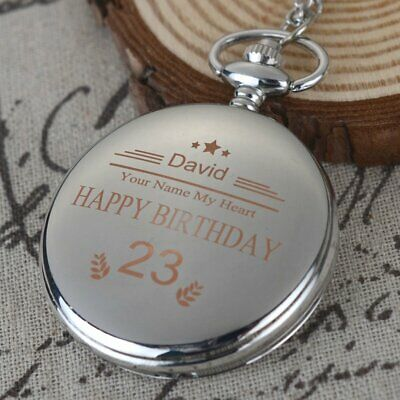 Personalised Engraved Silver Pocket Watch Chain Lover Birthday Valentine Gift
