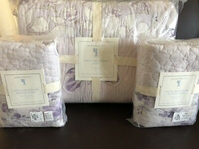 New Pottery Barn Kids Yvette Floral Butterfly Patchwork F/Q Quilt & 2 Euro Shams