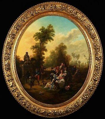 Fête Galante | Superb 18th Century French Oil Painting in Antique Gilt Frame