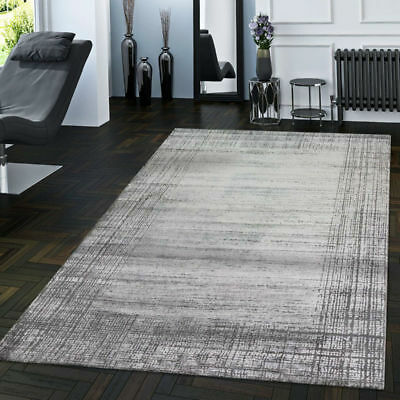 Modern Grey Living Room Rug Border