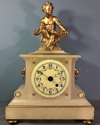 Vintage Marble and Spelter French Style Clock, Raphael, Working Order