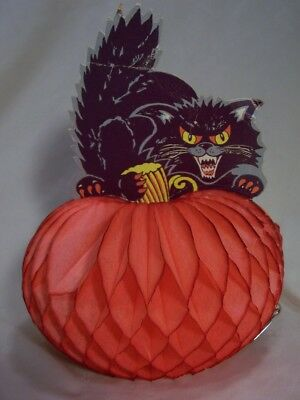 Vintage Danish Amscan Cat & Pumpkin Halloween Honeycomb Decoration - Denmark