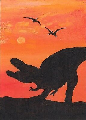 ACEO original dinosaur jurassic park lost world prehistoric reptile painting art