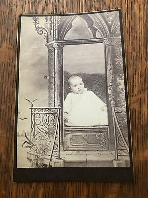 Antique Cabinet Card Photo - Baby In White, Victorian Surroundings