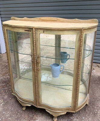 Vintage Art Deco China Display Cabinet - Bow Fronted With Mirrored Back