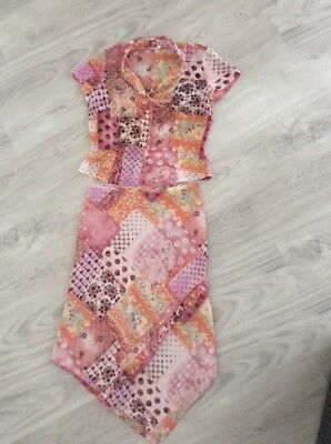 Melrose Size 12 Ladies Multi Coloured Abstract 2 Piece Outfit Top & Skirt