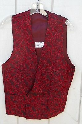 VINTAGE 60's RED BUTTON DOUBLE BREASTED SATIN LINED STYLE  MEN'S VEST  SZ MEDIUM