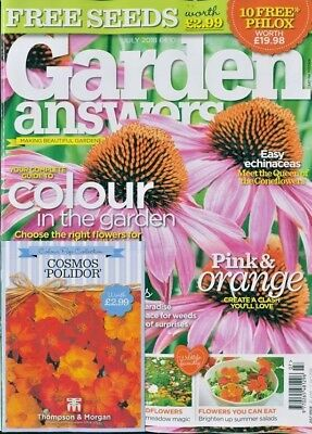 GARDEN ANSWERS MAGAZINE ISSUE JULY 2018 WITH 4 x PACKS OF SEEDS ~ NEW ~