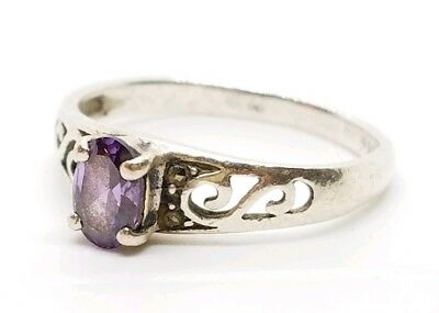 Petite Vintage Sterling Silver Filigree Faceted Amethyst Gemstone Size 6 Ring