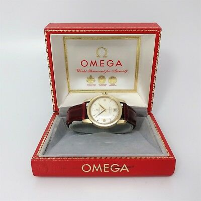 Vintage 1950's 14K Gold Omega Seamaster Calendar Watch 2757SC Cal 355 with Box
